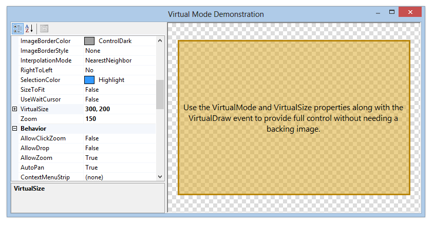 Virtual mode demonstration, where the ImageBox can be used without a backing image